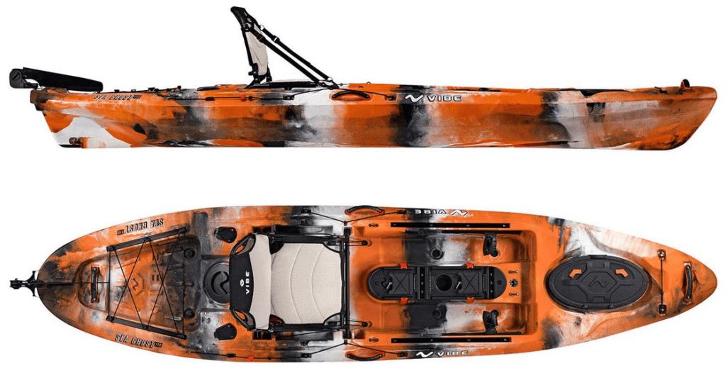 Vibe Kayaks Sea Ghost 110 11 Foot Angler Sit On Top Fishing Kayak with Adjustable Hero Comfort Seat & Transducer Port + Rod Holders + Storage + Rudder...