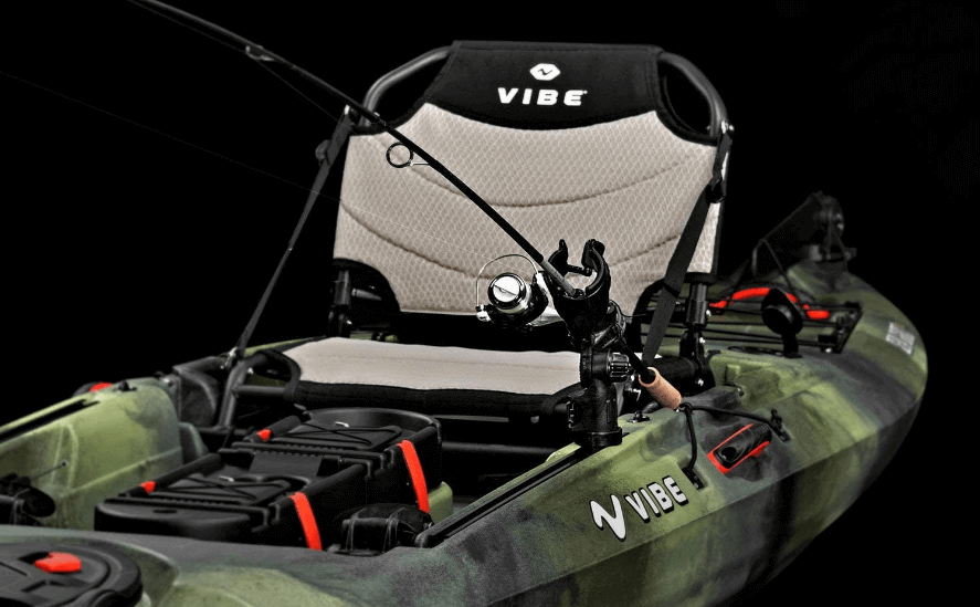 Vibe Kayaks Sea Ghost 130 13 Foot Angler Sit On Top Fishing Kayak with Adjustable Hero Comfort Seat and Transducer Port and Rod Holders